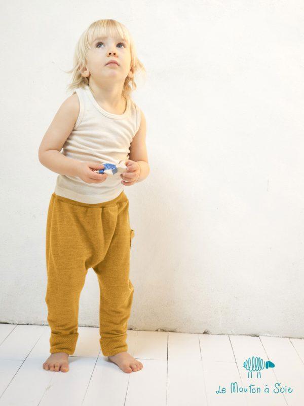 sarouel enfant jaune laine et soie