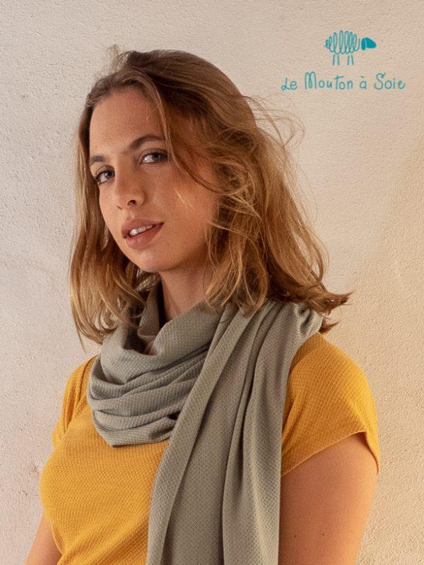 Grand Chèche unisexe homme femme laine soie