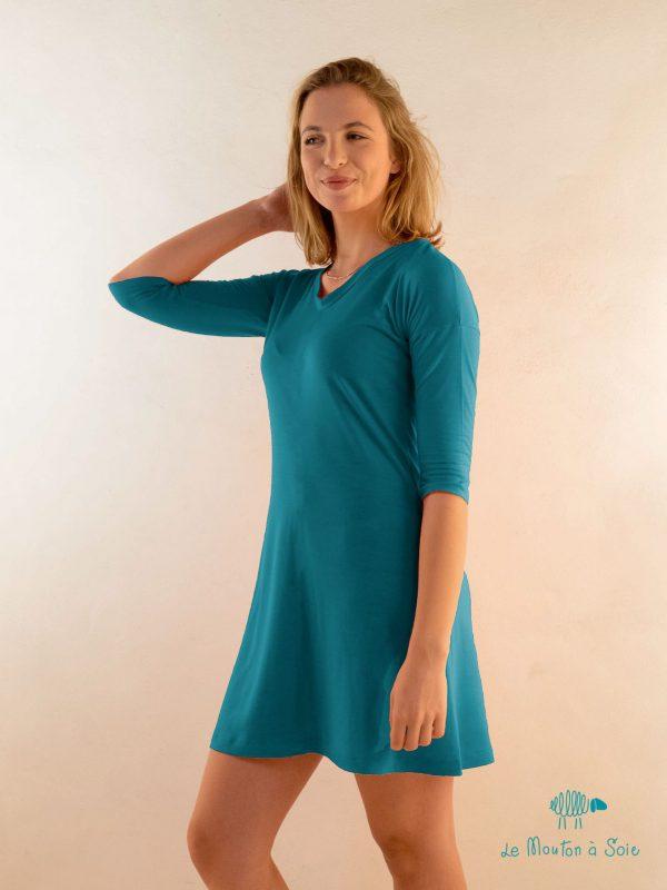 robe manche mi longue femme laine et soie bleue
