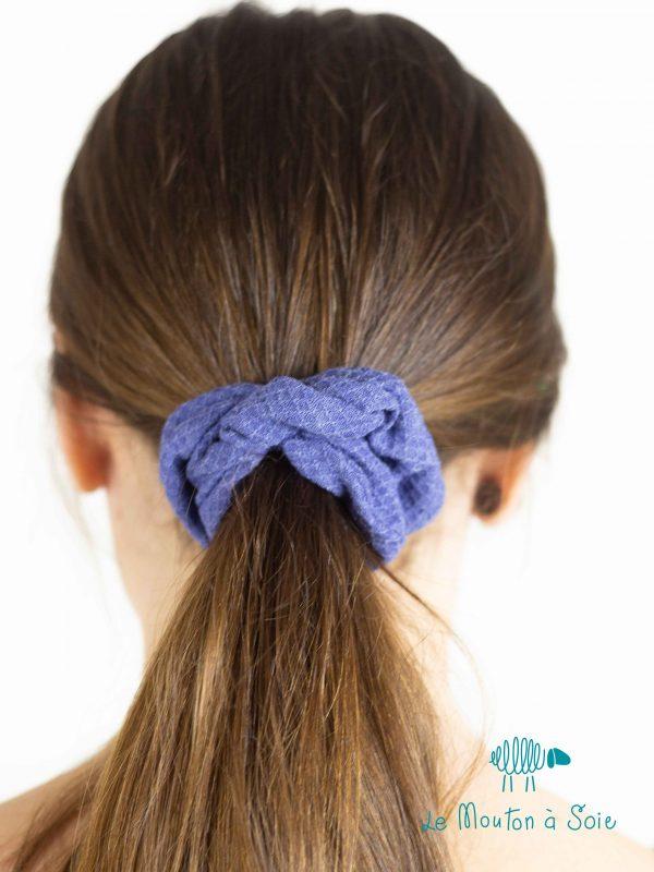 chouchou zero dechet laine soie bleu iris