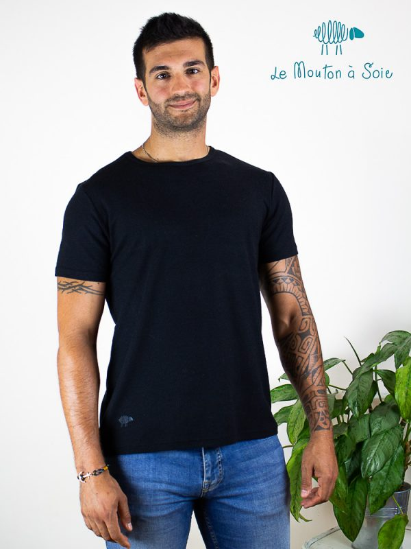 tee-shirt manches courtes laine et soie homme