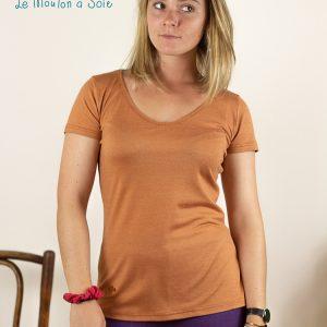 tee-shirt manche courte laine et soie femme