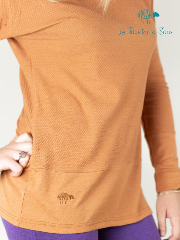 tee-shirt manches longues laine et soie femme