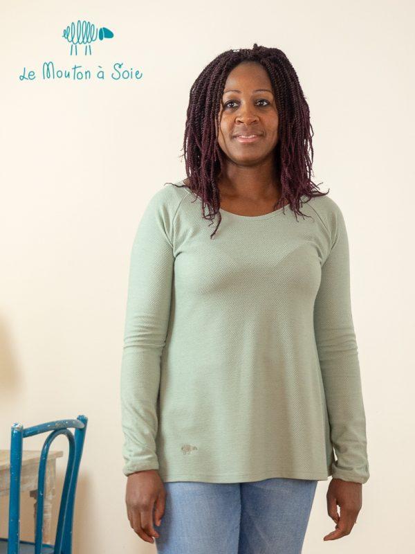 tee-shirt manche longue femme laine et soie vert thé