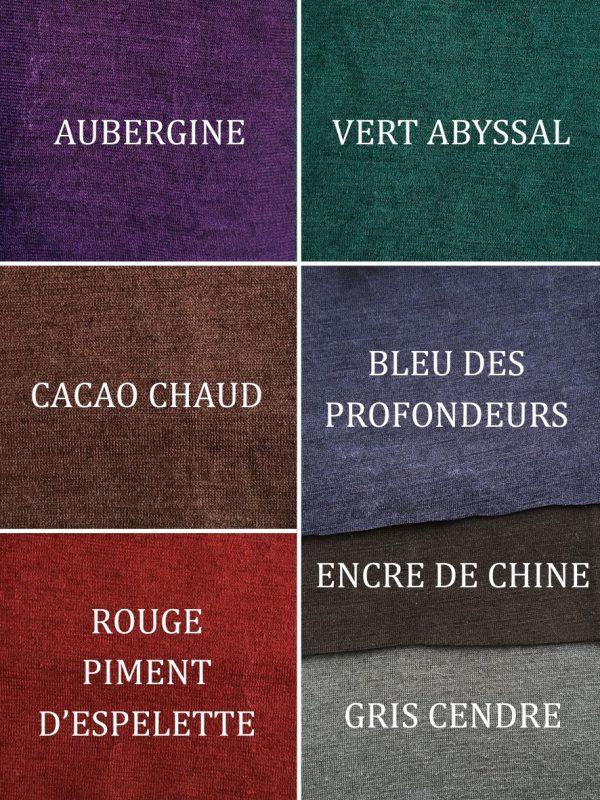 Coloris de la collection SECONDE PEAU 2020-2021 : aubergine, cacao chaud, rouge piment d'espelette, vert abyssal, bleu des profondeurs, encre de chine, gris cendre
