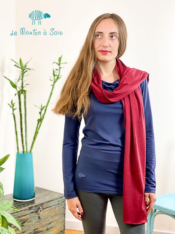 top manches longue col drapé laine soie elasthane bleu des profondeurs