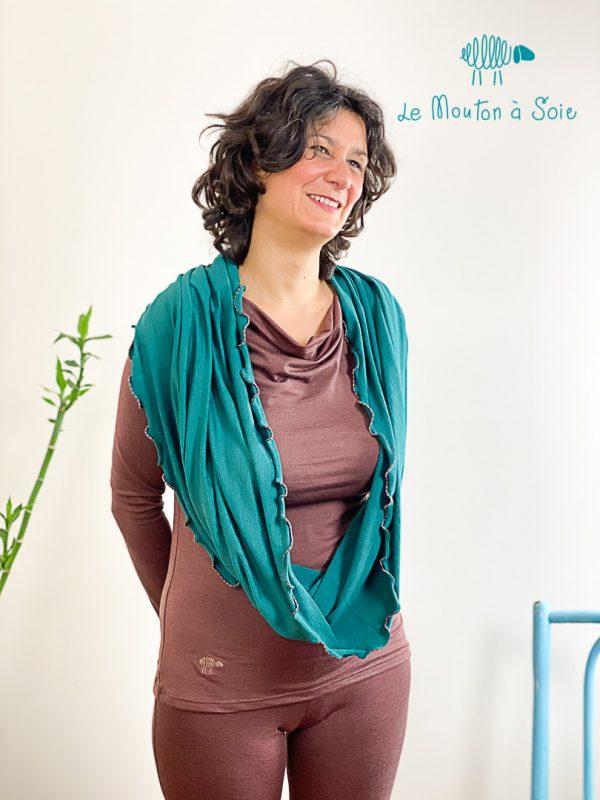 top manches longue col drapé laine soie elasthane cacao chaud