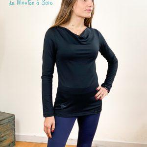 top manches longue col drapé laine soie elasthane noir