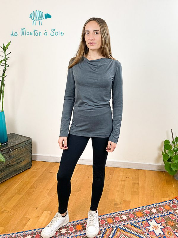 top manches longue col drapé laine soie elasthane gris cendre