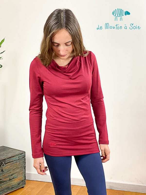 top manches longue col drapé laine soie elasthane rouge piment