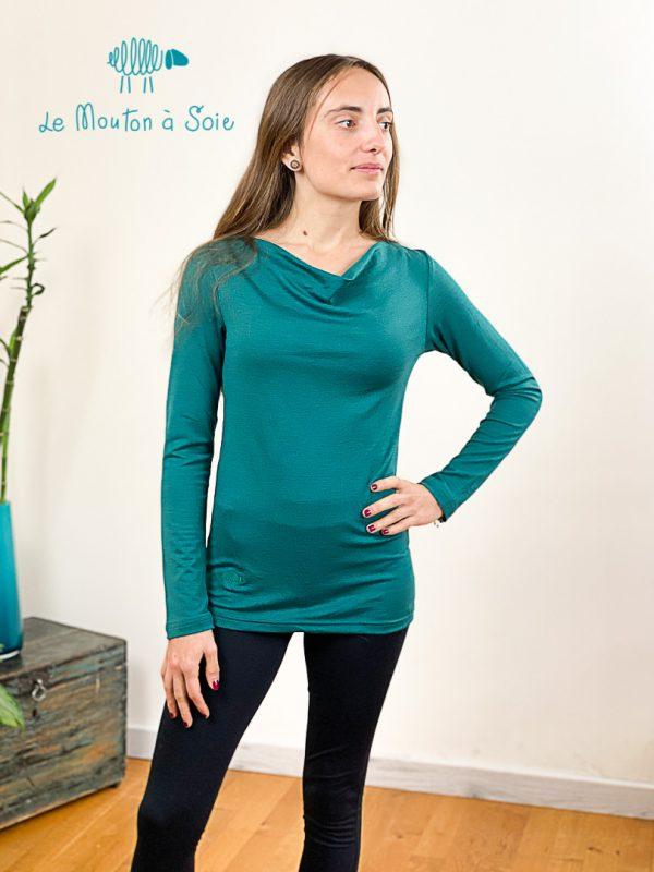 top manches longue col drapé laine soie elasthane vert abyssal