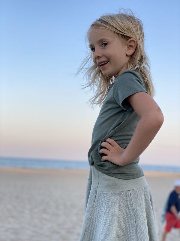 tee-shirt manches courtes et jupe enfant laine et soie