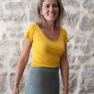 tee-shirt classique manches courtes femme laine et soie