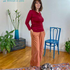 pantalon ample laine et soie