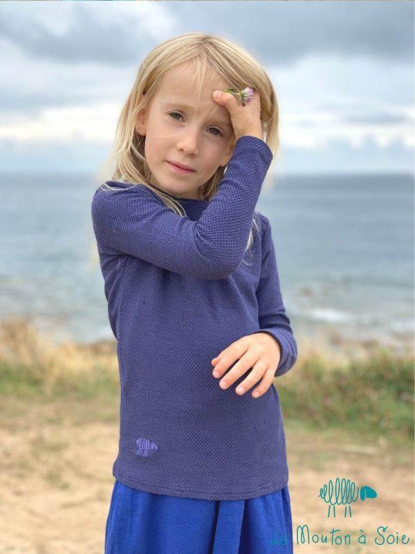 tee-shirt moussaillon mancheslongues enfant laine et soie