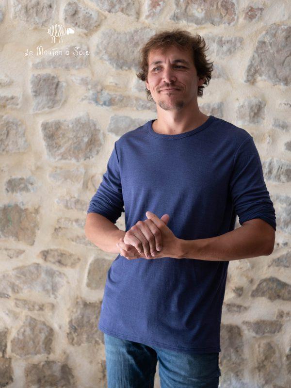 tee-shirt manches longues hommes basic laine et soie