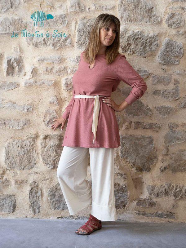 tunique orientale femme laine et soie avec ceinture