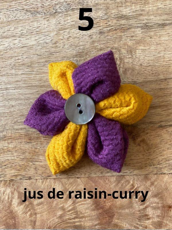 barrette fleur tissu laine et soie